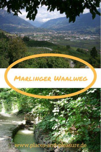 zwei Eindrücke vom Wandern auf dem Marlinger Waalweg