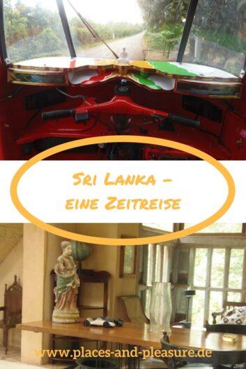 zwei Eindrücke aus Sri Lanka: Tuk Tuk mit Buddha und Arbeitszimmer Bawa