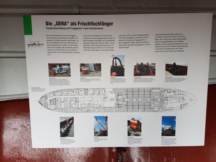 Tafel mit Erklärung zum Seitentrawler Gera