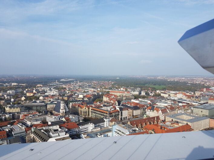 Blick vom City Hochhaus Leipzig über die Stadt