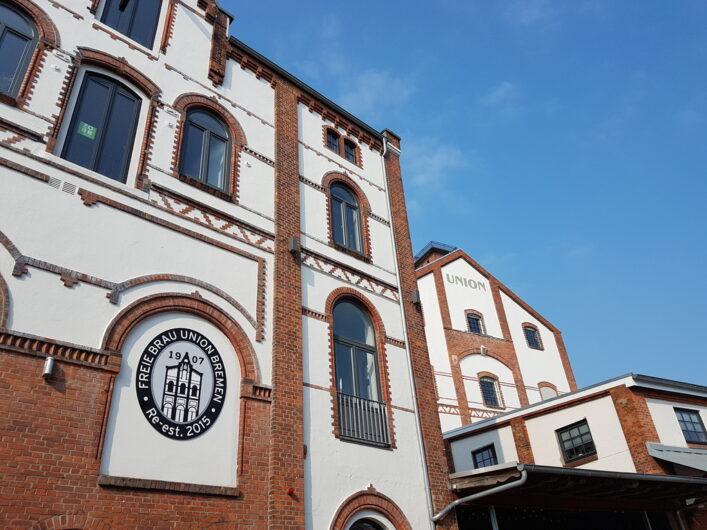 Blick auf die historischen Gebäude der Union Brauerei in Bremen