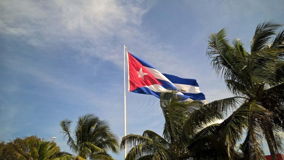 blauer Himmel Palmen und Flagge von Kuba