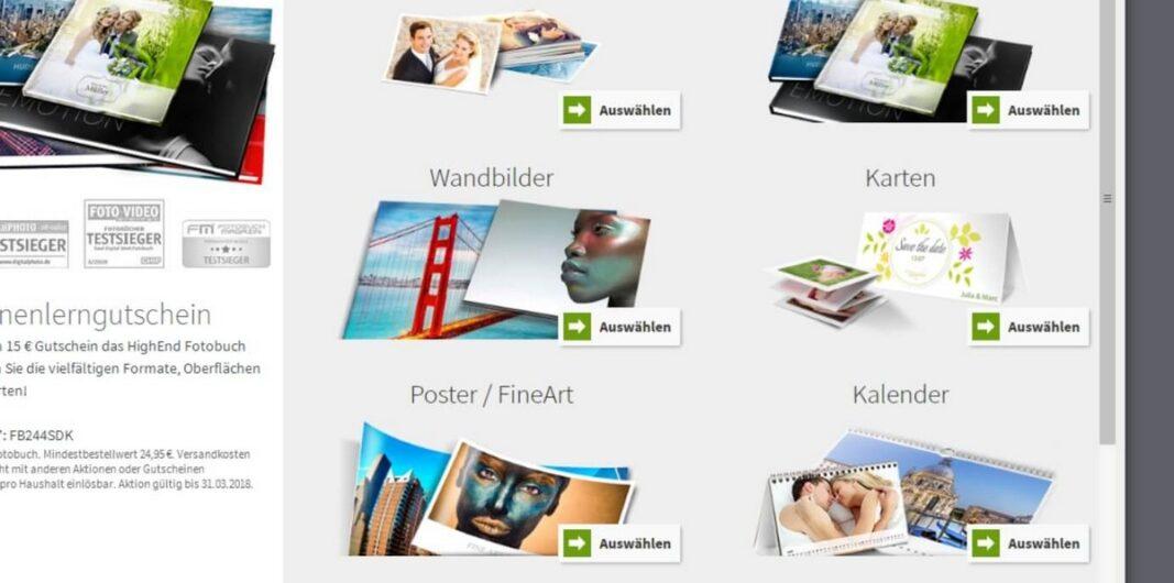 Auswahlbildschirm für die Fotoprodukte bei Saal Digital
