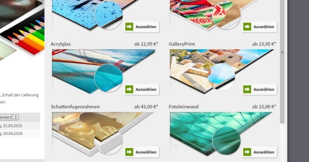 Auswahlbildschirm für die Oberflächen bei Saal Digital