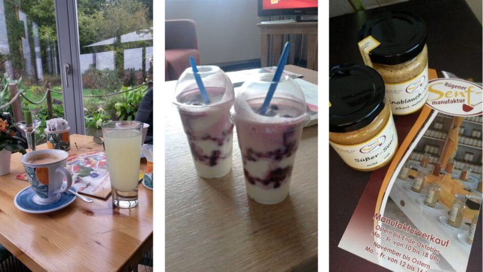 Kaffee und Molke im Café der Rügener Inselfrische, Joghurt-Dessert und Rügener Senf