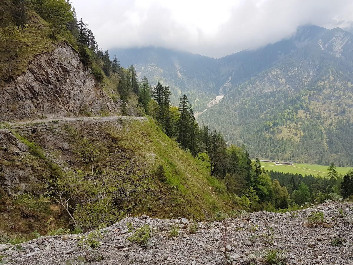 Weg hinauf zur Feilalm und Blick hinunter auf die Pletzachalm im Tal