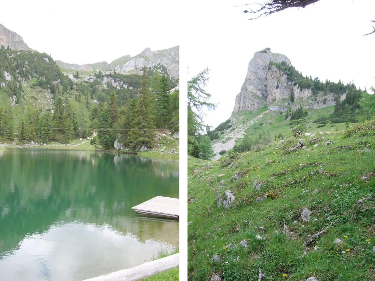 kleiner Bergsee am Rofan und Adlerhorst auf dem Berggipfel