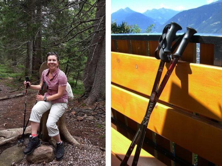 Martina bei einer Tageswanderung in Wanderoutfit und mit Wanderstöcken