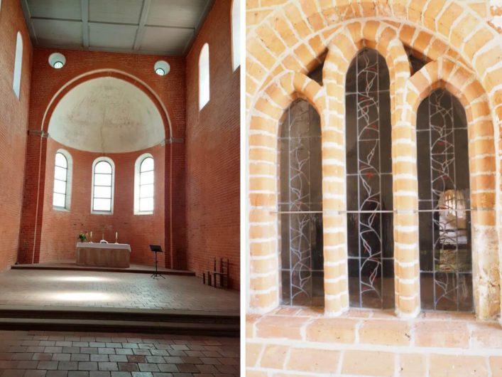 der Hochalter und ein typisch romanisches Fenster im Kloster Jerichow
