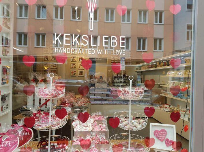 Schaufenster der Keksbäckerei Keksliebe in München