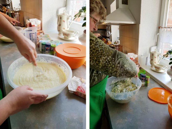 Zubereitung von Kloßteig und Füllung für die Berheè