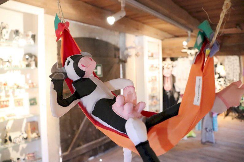 eine Kuh in der Hängematte im Muuuhseum in Wust