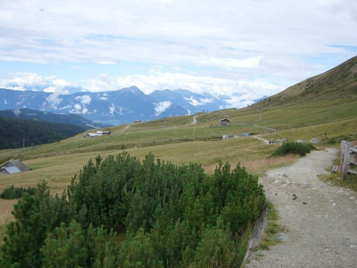 Blick zurück vom Wanderweg 3 und hinunter auf die Waidmannalm und die Ortlergruppe in weiter Ferne