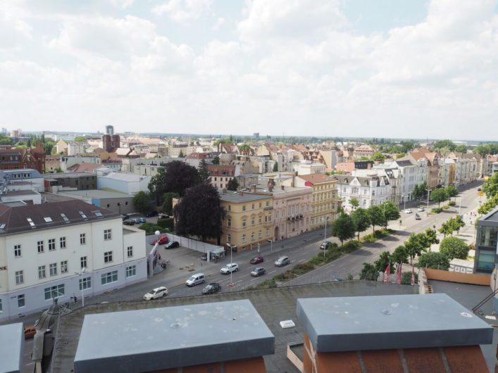 Blick über alte Villen in der Innenstadt von Cottbus