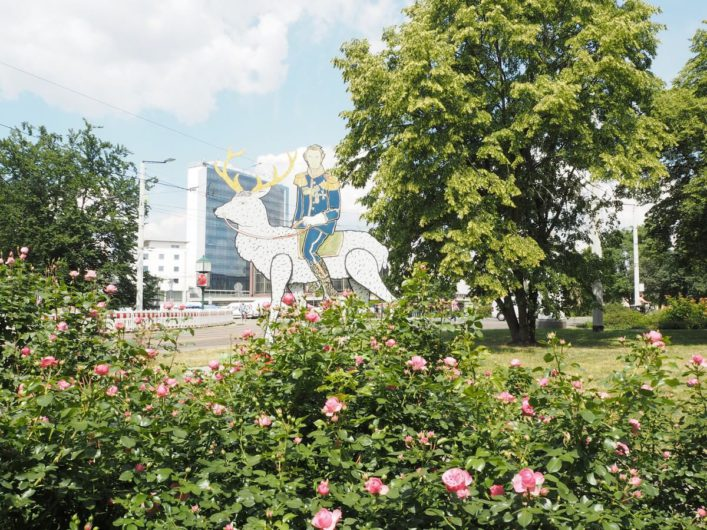 Fürst Pückler auf dem weißen Hirsch als Aufsteller in der Cottbuser Innenstadt