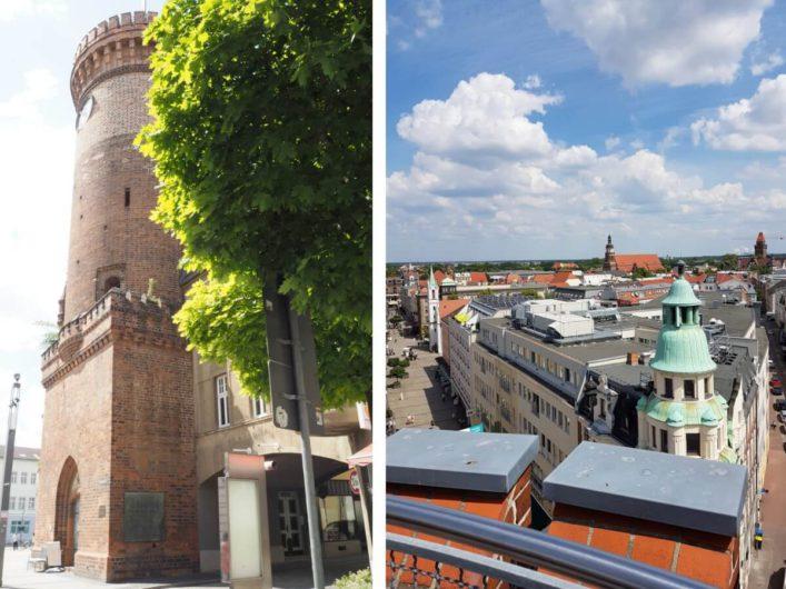 Spremberger Turm in Cottbus und Blick vom Turm in die Spremberger Straße