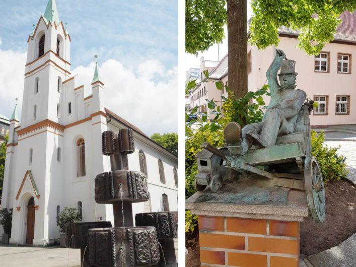 Blick auf die Synagoge in Cottbus und die Plastik des Cottbuser Postkutschers