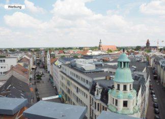 Blick über Cottbus und auf die Spremberger Straße vom Cottbuser Turm
