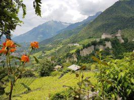 Blick aus dem Dorf Tiroler Biergarten Richtung Schloss Tirol
