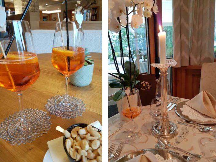 Aperol Spritz an der Hotelbar und beim Dinner im Wellnesshotel Sonnbichl in Dorf Tirol