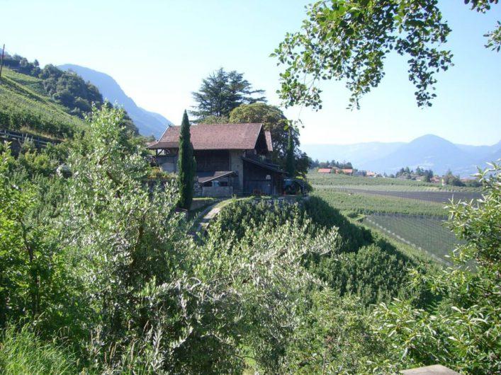 Bauernhof am Maiser Waalweg umgeben von Apfelplantagen