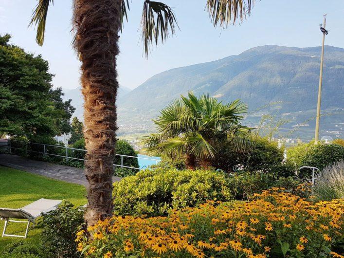 Liegewiese mit Aussicht auf die Bergwelt beim Hotel Sonnbichl in Dorf Tirol