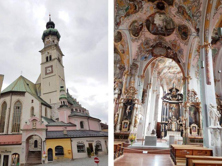 Blick auf die Pfarrkirche Hall und in ihren Innenraum