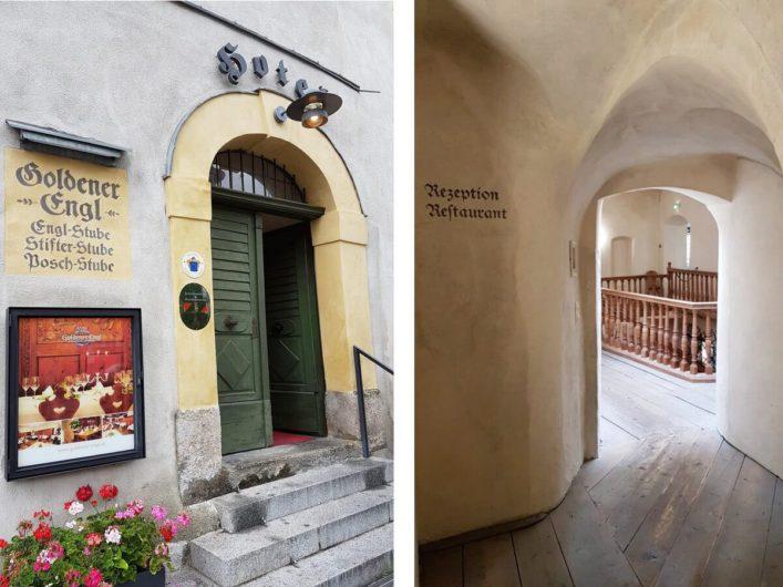 Eingang des Schlosshotels Goldener Engl in Hall und Gewölbe im Innern