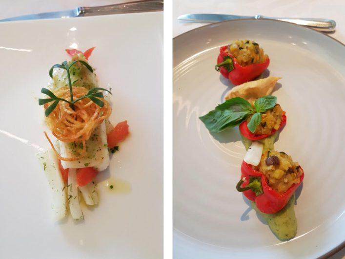 zwei verschiedene Vorspeisen beim Dinner im Hotel Sonnbichl