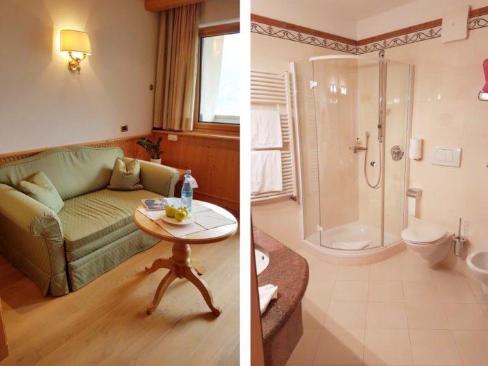 Wohnbereich und Bad der Juniorsuite im Wellnesshotel Sonnbichl