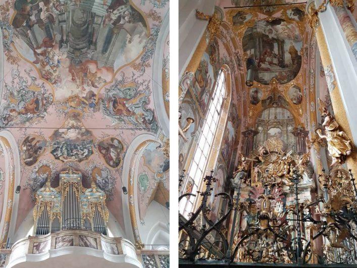 Orgel, Deckenbemalung und Reliquiensammlung in der Pfarrkirche Hall