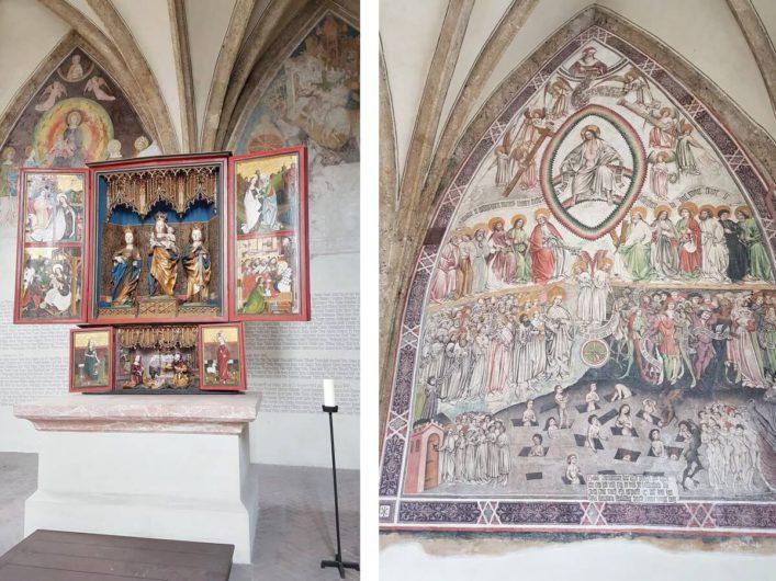 Fresko und Flügelalter in der St.-Magdalenen-Kapelle in Hall
