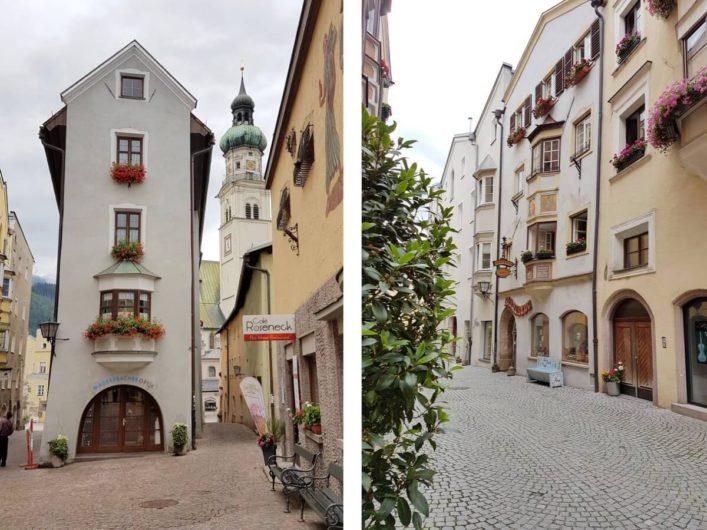 schmale Häuser und Gassen in der Altstadt von Hall in Tirol