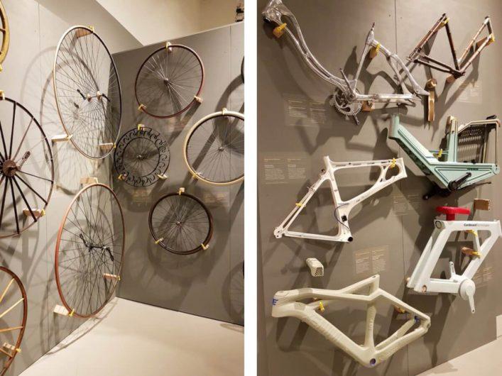 Teile von Fahrrädern in der Sonderausstellung BIKE IT des Universum Bremen