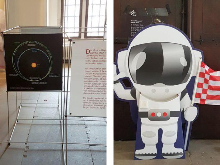 Erläuterungen zum Lander MASCOT in der Ausstellung Kontakt zu einem Asteroiden