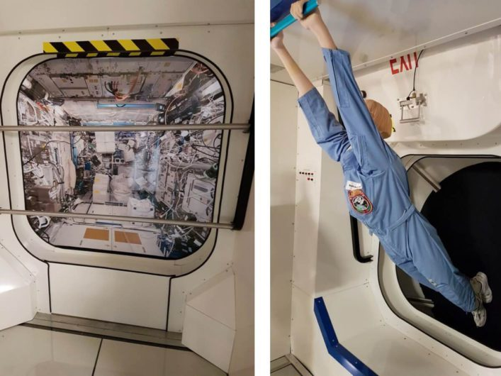 Blick ins Spacelab und die ISS bei Airbus in Bremen