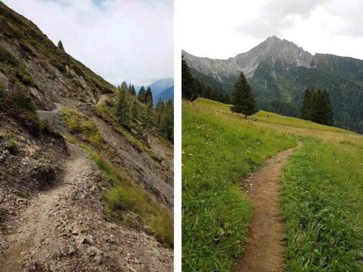 schmale Wegstücke auf der Wanderung zur Assen Hütte