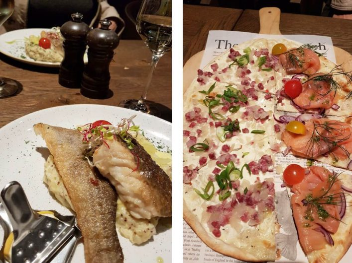 Dorsch und Flammkuchen im Restaurant Weineck