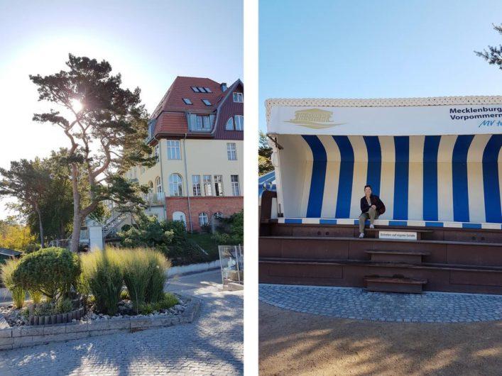 Promenade in Heringsdorf mit dem größten Strandkorb der Welt