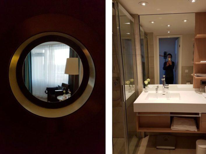 Bad im Einzelzimmer des Hotel Neptun in Warnemünde