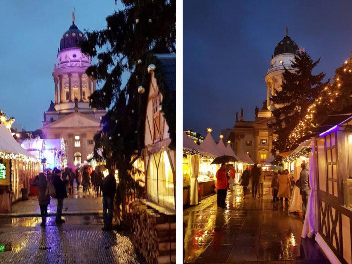Blick durch die Gassen des Weihnachtszaubers am Gendarmenmarkt mit dem Deutschen Dom im Hintergrund