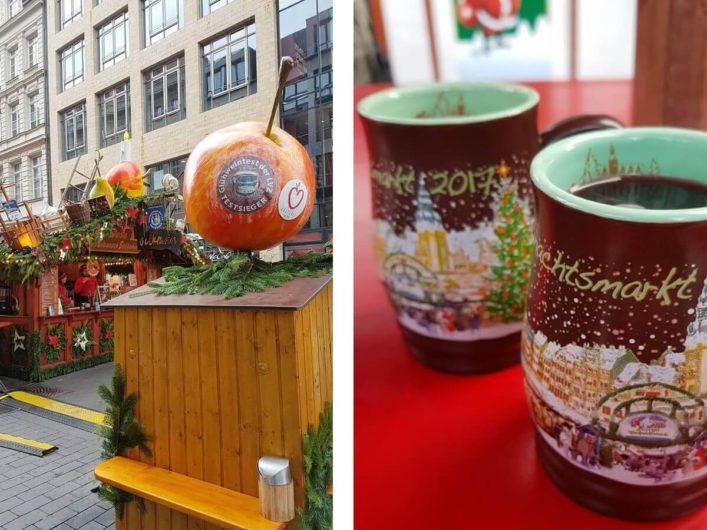 Stand mit Apfelpunsch und Apfeldekoration auf dem Leipziger Weihnachtsmarkt