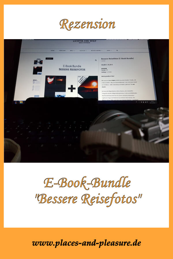 """(Werbung) Du bist unzufrieden mit deinen Urlaubsbildern? Dann kann ich dir das E-Book-Bundle """"Bessere Reisefotos"""" empfehlen. In meiner Rezension erfährst du, was im Bundle enthalten ist und wie du damit deine Fotokünste verbessern kannst. #urlaubsfotos #buchrezension #besserefotos #fototipps"""