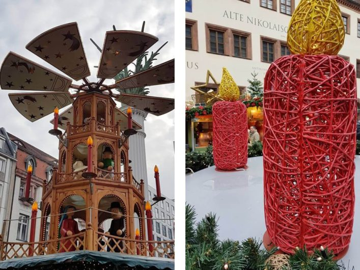 große Weihnachtspyramide und große Kerzen auf dem Weihnachtsmarkt in Leipzig