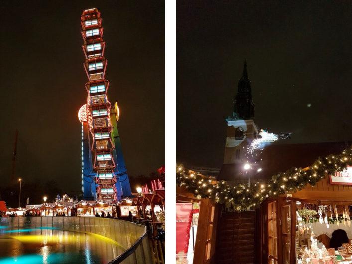 Riesenrad mit Eisbahn und Weihnachtsmann am Roten Rathaus in Berlin