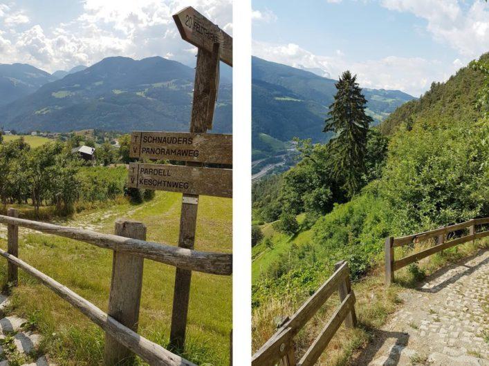 Schilder am Keschtnweg und der weitere Weg zwischen Feldthurns und Klausen