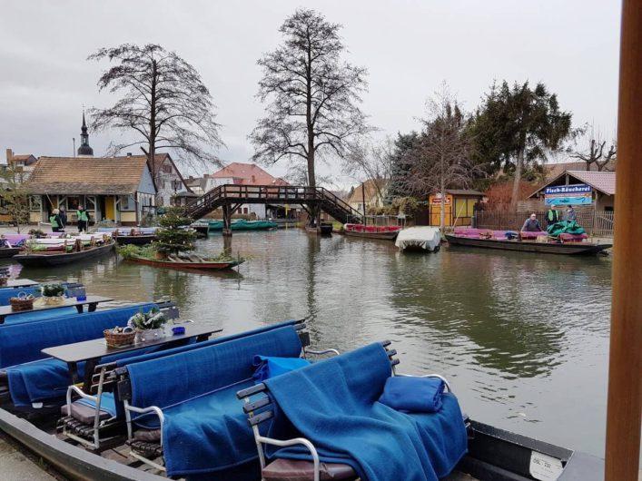 Blick auf die weihnachtlich dekorierten Kähne im Großen Spreewaldhafen in Lübbenau