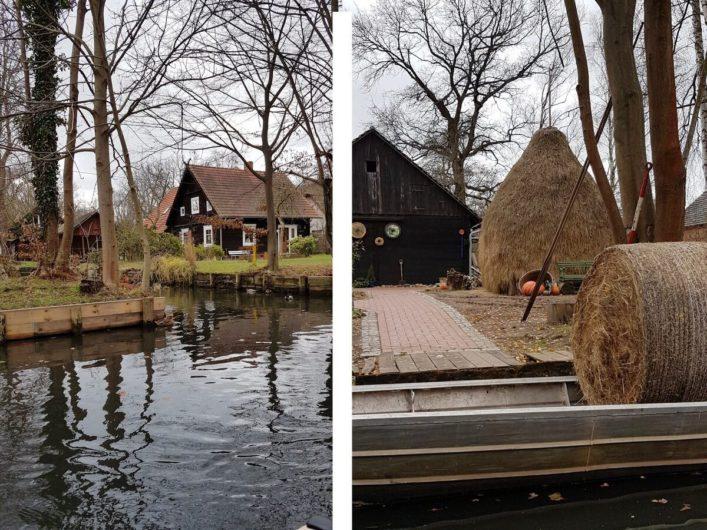 Spreewaldhäuser in Lehde und für den Spreewald typische Heuhafen