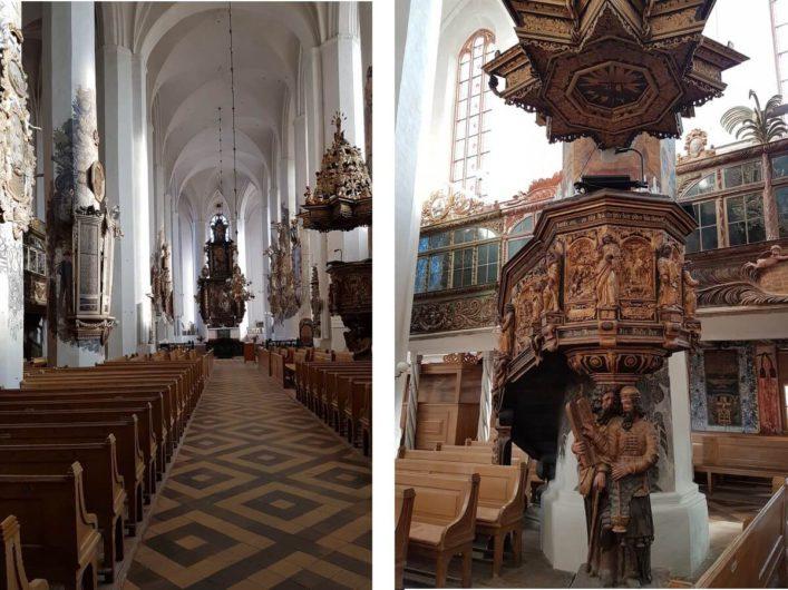 Blick in das Kirchenschiff von St. Nikolai in Luckau und die Kanzel