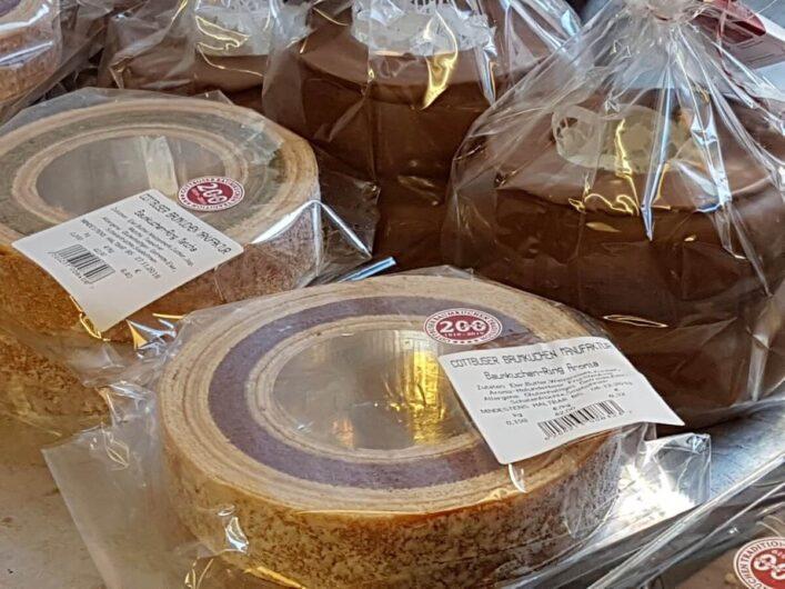 Baumkuchen mit Matcha und klassisch in der Cottbuser Baumkuchenmanufaktur